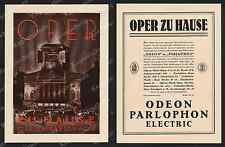 Plakat ODEON-PARLOPHON Grammophon Lindström Musik Staatsoper Berlin Graphik 1927
