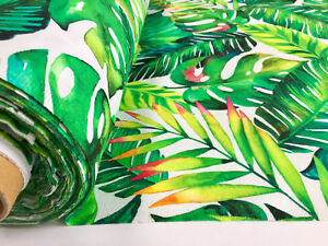 BANANA TROPICAL LEAVES Palm Leaf Fabric Curtain Dress Cotton Material 140cm wide