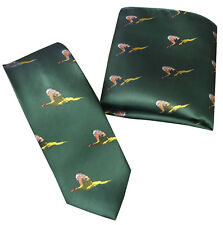 GREEN PHEASANT TIE & HANDKERCHIEF SET SHOOTING HUNTING COUNTRY GIFT CLAY PIGEON