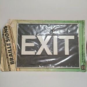 Exit Braille Sign, ADA-Compliant Braille and Raised Letters, 11x8 inch Black Wht
