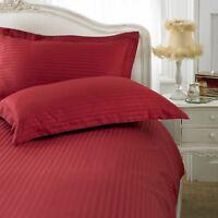 100% Egyptian sateen stripe cotton Burgundy duvet cover set single double king