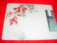 """CORELLE KYOTO LEAVES COUNTER SAVER GLASS CUTTING BOARD 12x15"""" NEW FREE USA SHIP"""