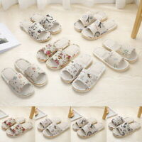 Women Ladies Anti-slip Cotton Linen Home Shoes Indoor Open Toe Flat Slippers LOV