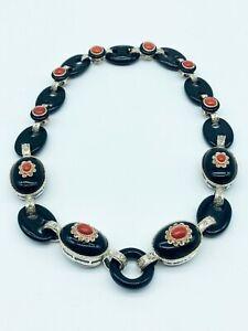 Collana realizzata in oro rosa 14 ct - Argento, Onice, Corallo, Diamanti