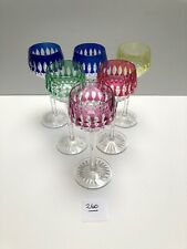 SAINT LOUIS MAGNIFICENT CUT CRYSTAL COLORED WHITE WINE GLASSES   #260