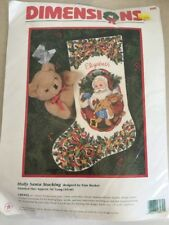 "Dimensions Crewel Stitchery Christmas Stocking Kit HOLLY SANTA 8089 16"" Long"
