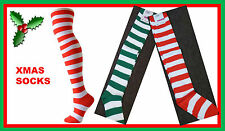 Christmas OVER THE KNEE Socks Striped Red White Green Xmas Elf Candy Cane