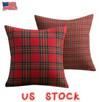 Christmas Square Scottish Plaid Home Decor Pillow Case Throw Cushion Cover Gift