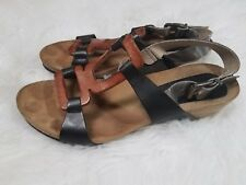 Anthropologie Sheridan Mia Sandals Black Brown Silver 7 M Strappy Flat