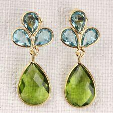 Blue Topaz,Green Peridot Hydro Quartz Gold Plated Stud Earring Making Jewelry