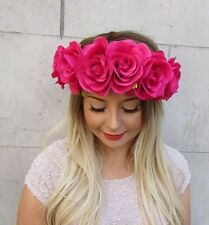 Large Hot Pink Rose Flower Garland Headband Festival Boho Hair Crown Band 2736