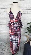 Nastygal Check Velvet Frill Midi Peplum Plunge Neckline Dress SZ 6
