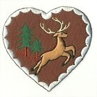 Deer Buck Pine Tree Heart Embroidered Patch