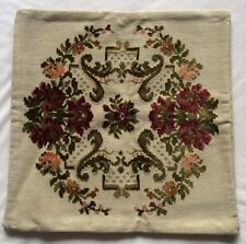 "Vintage 1950s 2 Sided Tapestry Pillow Cover 16-1/2"" Square w/ Zipper Closure EUC"