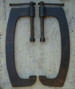 """PAIR OF WODEN HEAVY DUTY VERY LARGE 16"""" G CLAMPS IN GOOD USED CONDITION ~ 1930's"""