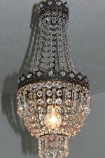 Antiker franz Empire Bronze Kristall Sack Lüster Kronleuchter Korblüster Lampe !