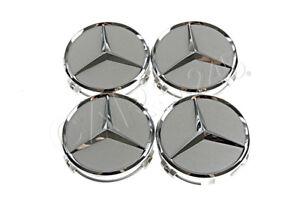 Genuine Wheel Center Hub Cap Star Silver Chrome Covers 4x SET MERCEDES B66470202