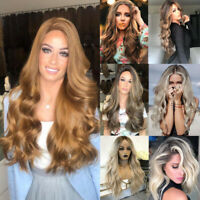 Womens Long Curly Wavy Hair Full Wig Heat Resistant Synthetic Hair Blonde Wigs