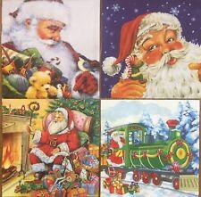 set of 4 DESIGNS PAPER NAPKINS COLLECTION for DECOUPAGE Christmas Santa Claus