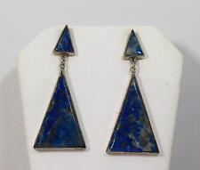 "Lapis Lazuli With Sterling Silver Earrings 2"" Long Dangling. J0035"