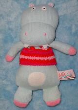 "Latitude Enfant knit plush light blue hippo soft toy 9"" stuffed animal"