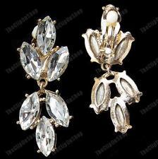 CLIP ON gold fashion BIG CRYSTAL EARRINGS marquis rhinestone SPARKLY GLASS