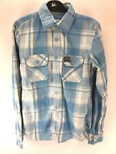 SUPERDRY Mens Shirt S Small Blue White Check Cotton