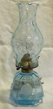 Fostoria Coin Glass Blue Coach Lamps (2)