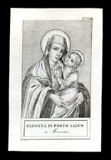 santino incisione 1800 MADONNA DI PORTO SALVO in MESSINA
