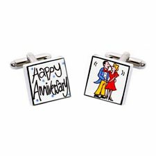 Happy Anniversary Cufflinks by Sonia Spencer, gift boxed. Hand painted, RRP £20!