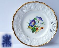 Porzellan Teller, Blumen, Handmalerei, C. Tielsch & Co Schlesien, um 1848 AL466