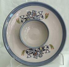 "Vtg Louisville Stoneware Chip & Dip 12""Plate/Attached Bowl-Farmer Boy/Girl/Cows"