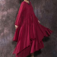 Women Linen Cotton Long Sleeveless Dress 2 Layers Loose Casual Shift Dress Thin