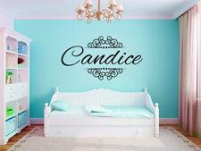 "Elegant Ornamental Scroll Name Monogram Girls Bedroom Vinyl Wall Decal 25"" Tall"