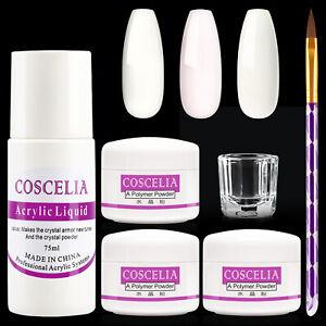 Acrylic Liquid Powder Nail Extension Set 75ml 3 Color Manicure Brush Tools Art