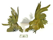 Fighting Cocks Roosters Brass Bronze