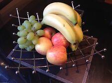 NOVELTY SQUARE LATTICE CHROME KITCHEN DINNING TABLE CENTRE FRUIT BOWL BASKET