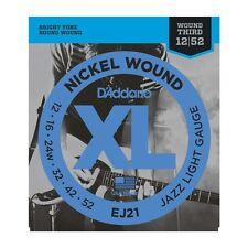 D'ADDARIO EJ21 Nickel 3RD Wound, Jazz Light, 12-52 GUITAR STRINGS  2 PACK