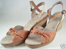 Bass MARY Wedge Sandal Fabric Upper Ankle Strap Muted Red NIB Size 10 M