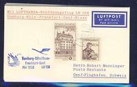50767) LH FF Deutschland - Genf Schweiz 24.5.59, Karte ab CSSR
