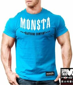 NEW Men's Monsta Clothing Signature Spike Tips Bodybuilding Tee: Blue