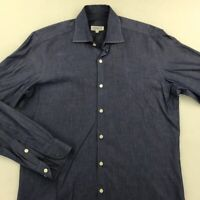 Piattelli Barneys New York Mens Button Up Shirt Blue Heathered Long Sleeves S