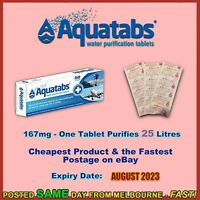 Water Purification Tablets Aquatabs 167mg 167 mg treat 25 ltrs camping prepping