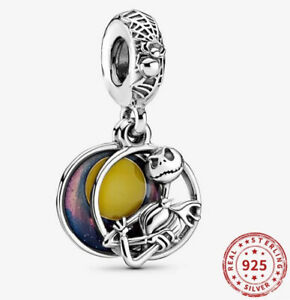 NIGHTMARE BEFORE CHRISTMAS Jack European Charm & Pouch - Silver S925 - DISNEY