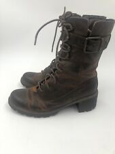 ROCKPORT Brown Distressed Leather Boots, Hiking, Military,Steampunk, Women 8 M