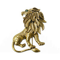 Vintage Unisex Alloy Lion Brooch Pins Gold Plated for Suit Clothing Scarf