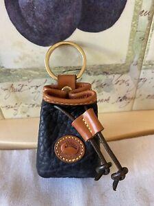 NWOT Vintage Dooney & Bourke & Bourke Black Leayher Drawstring Keychain/Coin Bag