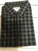 New Men's HABAND SS Shirt Black Plaid Zipper Front Elastic At Waist Size XLarge