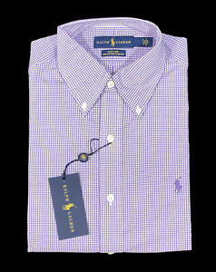 Men's RALPH LAUREN Purple White Plaid Dress Shirt 17 36/37 NWT NEW Easy Care