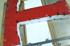 """20"""" 2-Tone Industrial Rustic Block Letter T Sign, Red/White Open Back"""